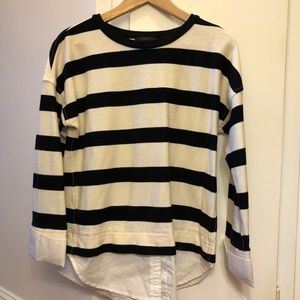 J. Crew navy and white striped top